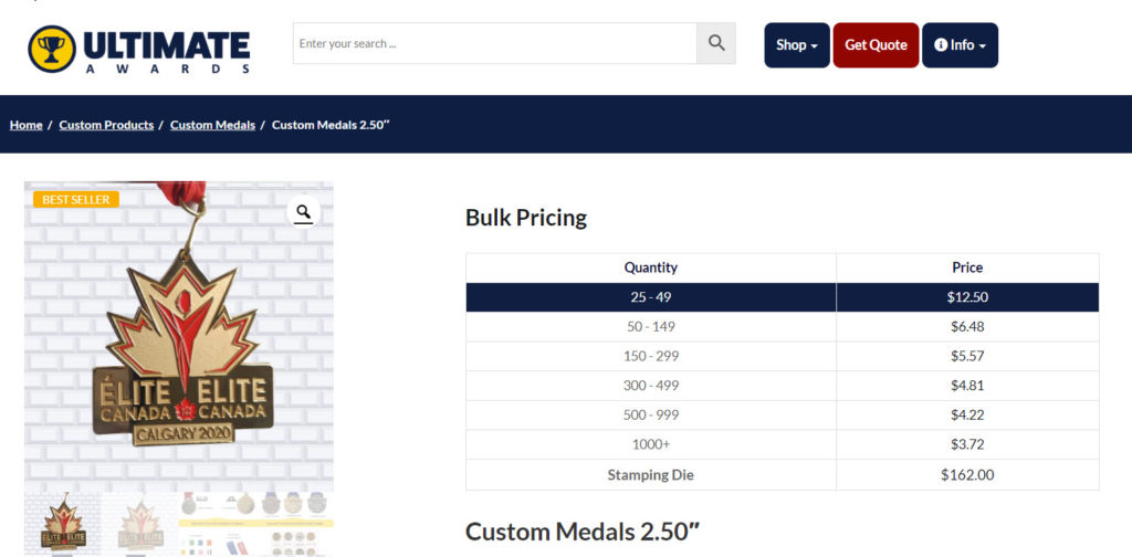 product page with pricing grid